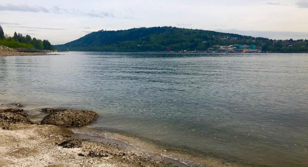 the Trans Mountain pipeline terminus on Burrard Inlet